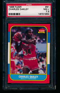 Scan of 1986 Fleer 81 Charles Oakley PSA 7.5 NM+