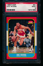 Load image into Gallery viewer, Scan of 1986 Fleer 91 Doc Rivers PSA 9 MINT