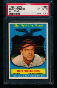 Scan of 1960 Topps 568 Gus Triandos All Star PSA 6 EX-MT