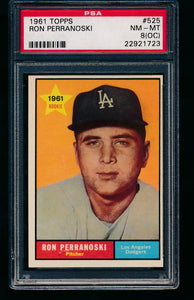 Scan of 1961 Topps 525 Ron Perranoski PSA 8 NM-MT (OC)