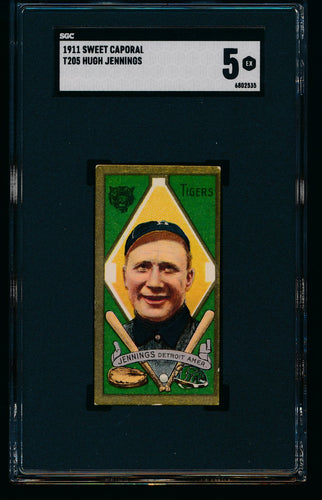 Scan of 1911 t205 Gold Border  Hugh Jennings SGC 5 EX