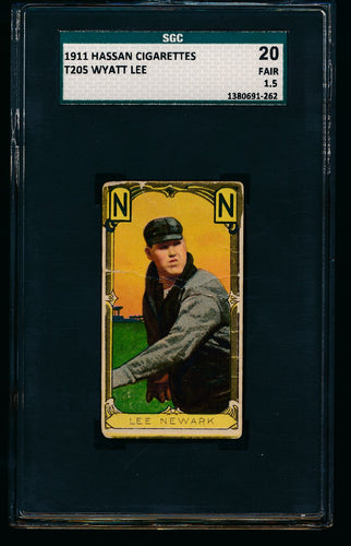 Scan of 1911 t205 Gold Border  Wyatt Lee SGC 1.5 Fair