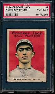 Scan of 1914 Cracker Jack 2 Home Run Baker PSA 4 VG-EX