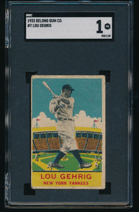 Scan of 1933 Delong Gum Co. 7 LOU GEHRIG SGC 1
