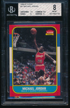 Load image into Gallery viewer, Scan of 1986-87 Fleer 57 MICHAEL JORDAN BGS 8 NM-MT