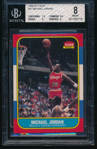 Scan of 1986-87 Fleer 57 MICHAEL JORDAN BGS 8 NM-MT