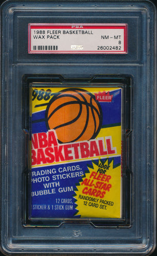 Scan of 1988-89 Fleer  Basketball Wax Pack PSA 8 NM-MT
