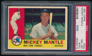 Scan of 1960 Topps 350 MICKEY MANTLE PSA 8 (OC) NR-MT