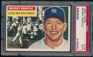 Scan of 1956 Topps 135 MICKEY MANTLE PSA 5 EX