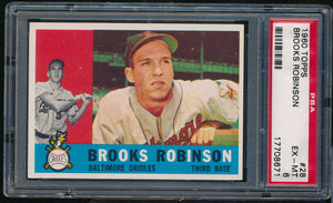 Scan of 1960 Topps 28 Brooks Robinson PSA 6 EX-MT
