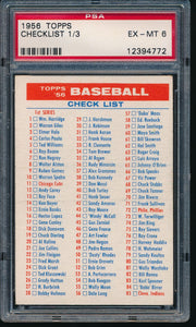 Scan of 1956 Topps  Checklist 1/3 PSA 6 EX-MT