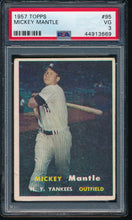 Load image into Gallery viewer, Scan of 1957 Topps 95 MICKEY MANTLE PSA 3 VG