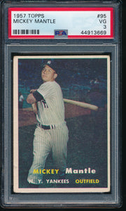 Scan of 1957 Topps 95 MICKEY MANTLE PSA 3 VG