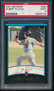Scan of 2001 Bowman 264 ALBERT PUJOLS PSA 9 MINT