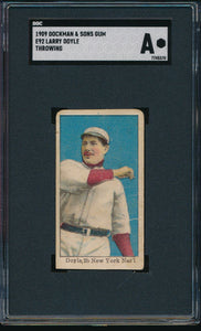 Scan of 1909 e92  Larry Doyle (Throwing) SGC Authentic
