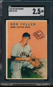 Scan of 1954 Wilson Franks  Bob Feller SGC 2.5 GOOD+