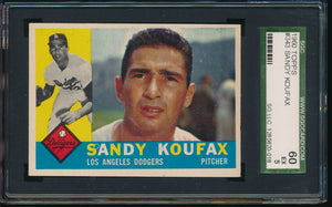 Scan of 1960 Topps 343 SANDY KOUFAX SGC 5 EX