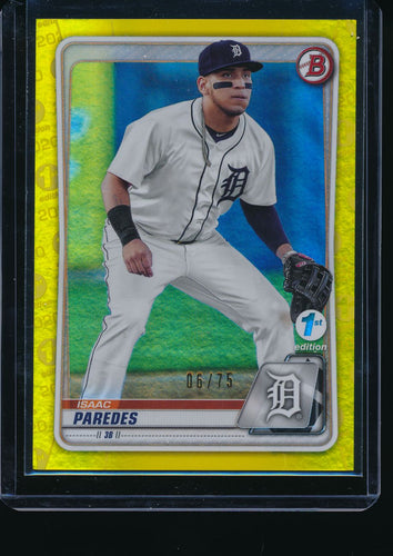 2020 Bowman 1st Edition  Isaac Paredes Yellow /75 Pack-Fresh 14676