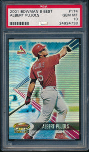 Scan of 2001 Bowman's Best 174 ALBERT PUJOLS PSA 10 GEM MINT