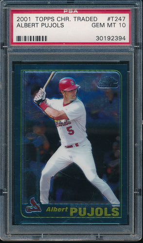 Scan of 2001 Topps Chrome T247 ALBERT PUJOLS PSA 10 GEM MINT