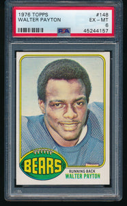 Scan of 1976 Topps 148 WALTER PAYTON PSA 6 EX-MT