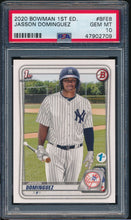 Load image into Gallery viewer, Scan of 2020 Bowman BFE8 JASSON DOMINGUEZ PSA 10 GEM MINT
