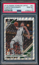 Load image into Gallery viewer, Scan of 2019-20 Donruss Optic 81 Giannis Antetokounmpo PSA 10 GEM MINT