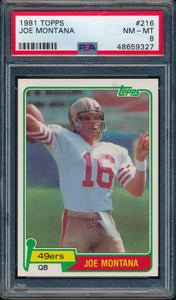 Scan of 1981 Topps 216 Joe Montana PSA 8 NM-MT