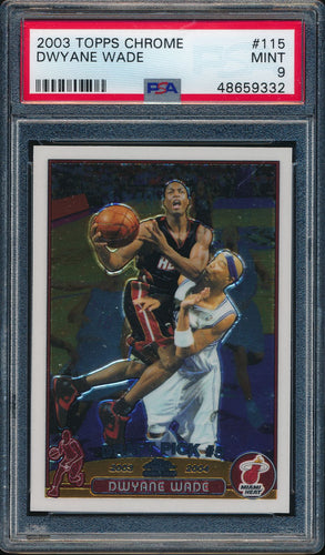 Scan of 2003-04 Topps Chrome 115 Dwyane Wade PSA 9 MINT