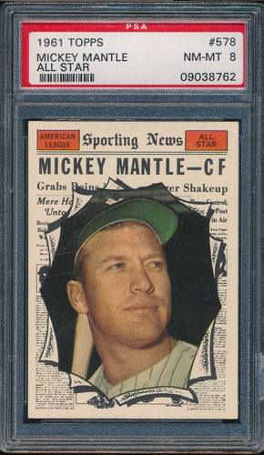 Scan of 1961 Topps 578 MICKEY MANTLE PSA 8 NM-MT