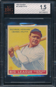 Scan of 1933 Goudey 53 BABE RUTH BVG 1.5 FAIR