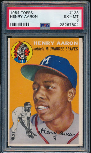 Scan of 1954 Topps 128 HANK AARON PSA 6 EX-MT