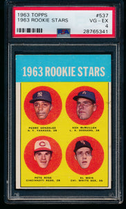 Post-WWII Graded Mega Mixer (100 spots) featuring a 1963 Topps Rose and '56/'63 Mantles