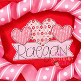 Heart Trio Applique with Name Frame