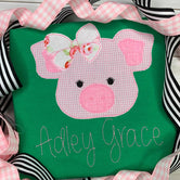 Pig Applique with Bow