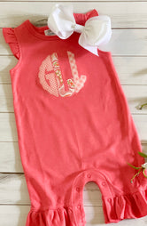Scalloped Monogram Romper