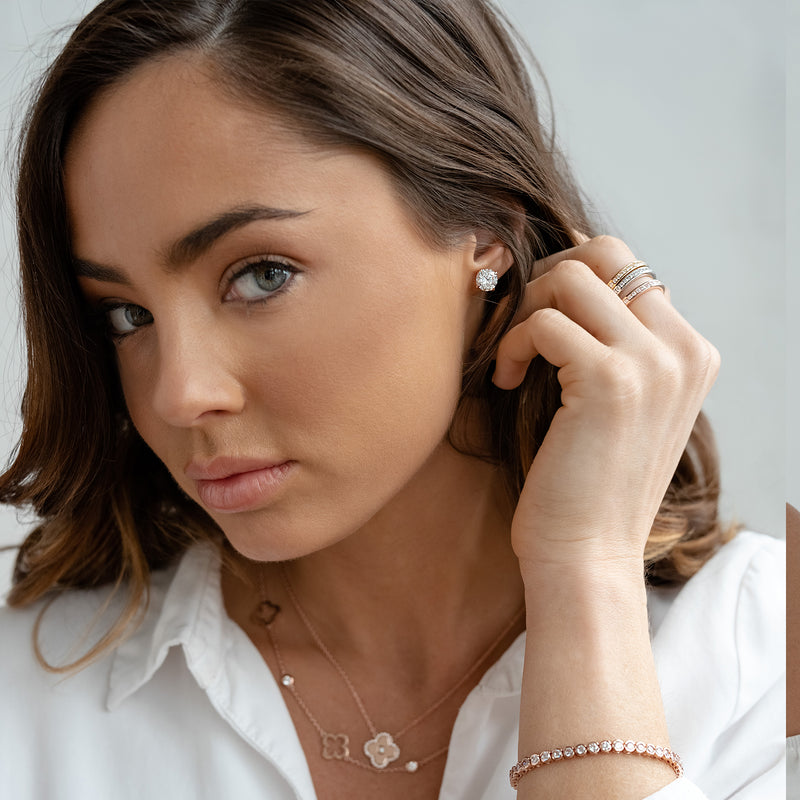 Brilliant Claw-Set Cubic Zirconia Rose Gold Stud Earrings