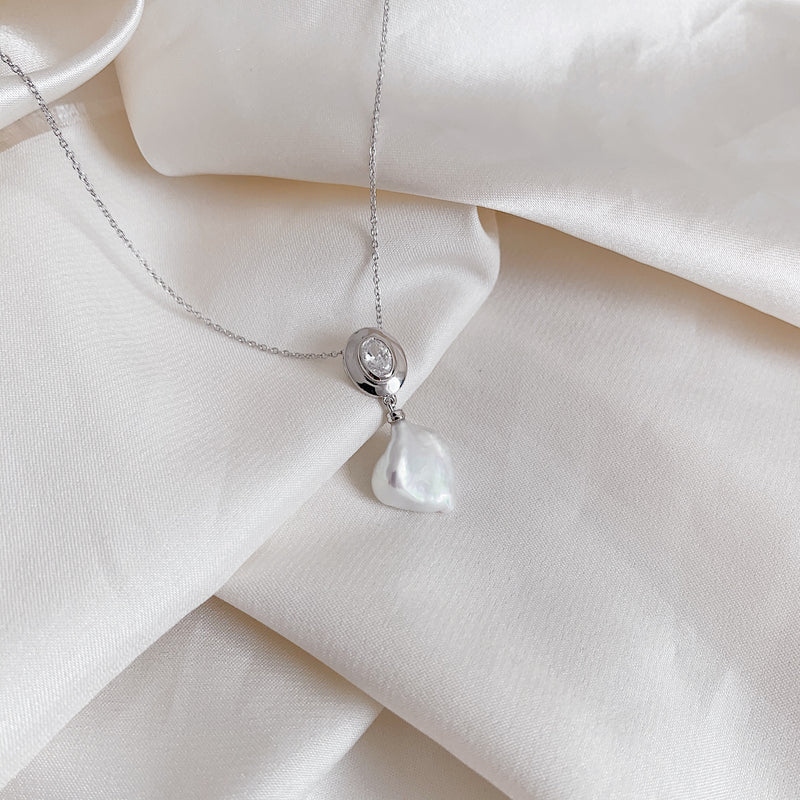 Freshwater Pearl Silver Drop Necklace