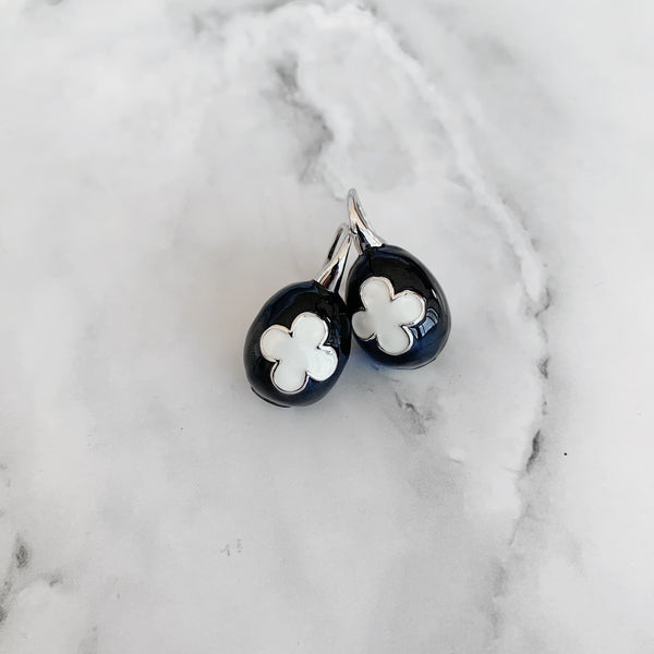 Black & White Ceramic Egg Earrings