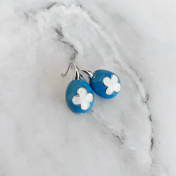 Blue & White Ceramic Egg Earrings