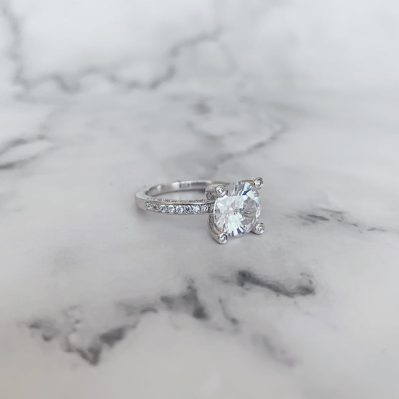 Rhodium Pave & Claw Set Ring