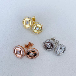 Round Rose Gold Stud Earrings