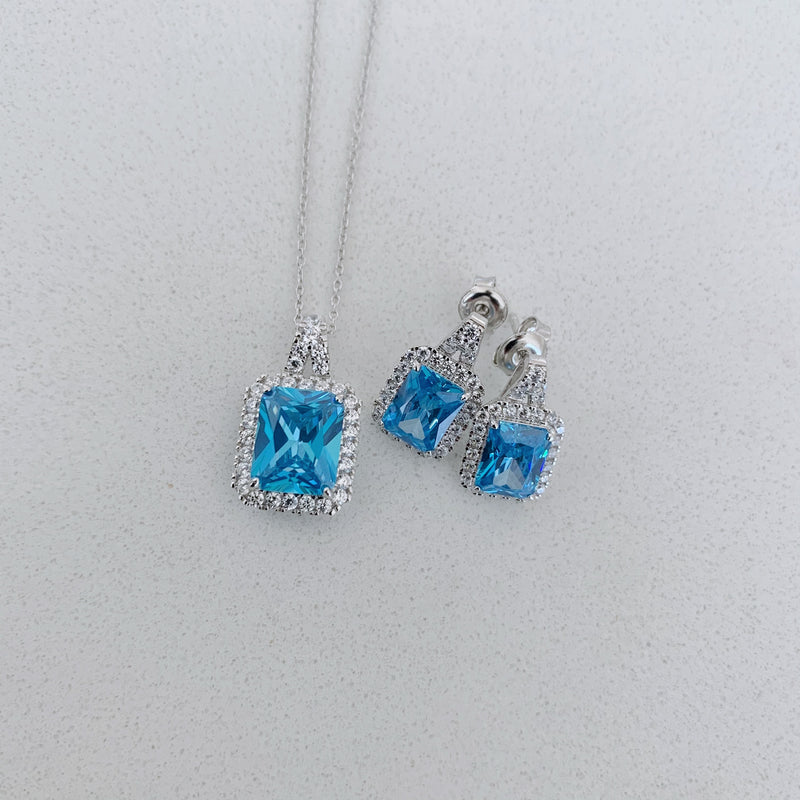 Aqua Rectangle Earrings