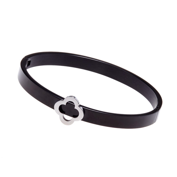 Fleur Black & Silver Bangle