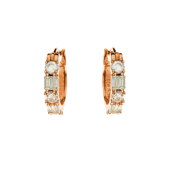 Amore Rose Gold CZ Hoops