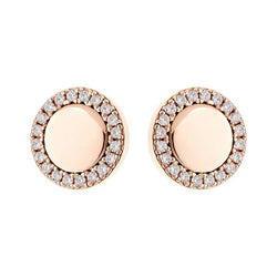 Round Disc Rose Gold Stud Earrings