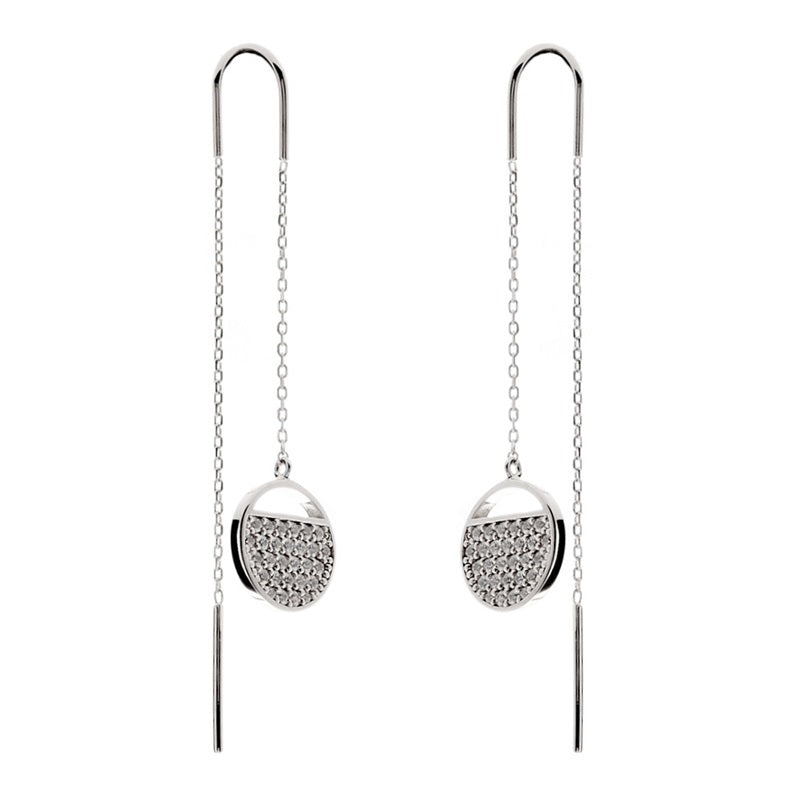 Pavé Cubic Zirconia Silver Chain Earrings