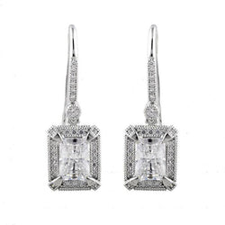 Kate Princess Cut Silver Earrings