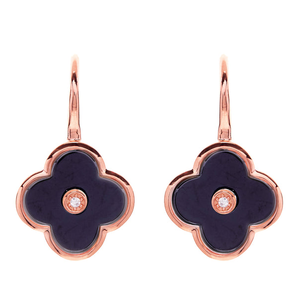 Flower Black & Rose Gold Earring