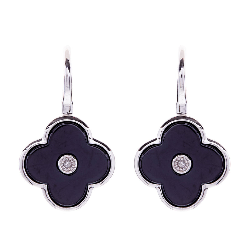 Flower Black & Silver Earring